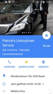 Lokales SEO für Unternehmen. Bsp. Patrick's Limousinen Service Basel GmbH.