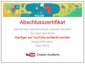 YouTube hat eigene SEO-Möglichkeiten. Abschluss-Zertifikat lionfish16.
