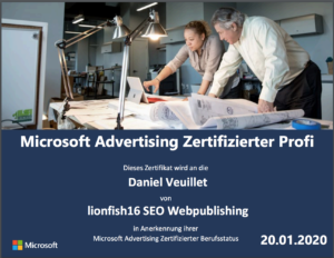 MICROSOFT ADVERTISING CERTIFIED PROFESSIONAL 2020 - Daniel Veuillet / lionfish16 SEO Webpublishing