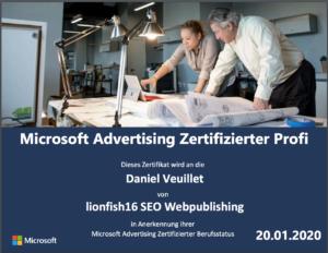 MICROSOFT ADVERTISING CERTIFIED PROFESSIONAL 2020 - Daniel Veuillet / lionfish16 SEO Webpublishing