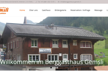 Berggasthaus Gemsli in St. Antönien, Graubünden - Onlinemarketing by lionfish16 SEO Webpublishing